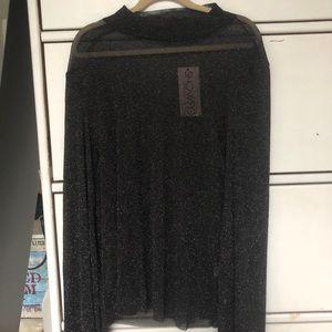 NWT Showpo Glittery Black Mesh Top